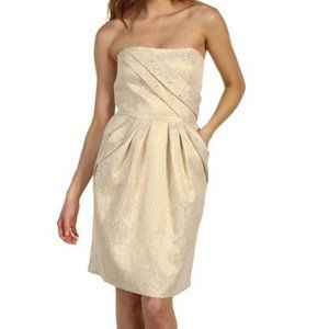 MAX & CLEO Strapless Gold Cocktail Dress